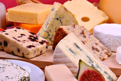 Cheese platter with some fresh cheese Royalty Free Stock Images
