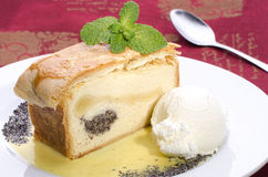 Cheese and poppy seed strudel. With vanilla sauce and ice cream in red background stock photos