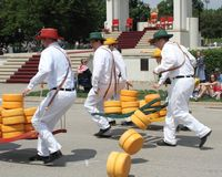 Cheese porters racing Royalty Free Stock Images