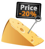 Cheese with a price tag sale at a low price at Royalty Free Stock Photos
