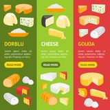 Cheese Product Dairy Banner Vecrtical Set. Vector. Cheese Product Dairy Banner Vecrtical Set Natural Food Various Sort for Market, Cafe Card. Vector illustration Royalty Free Stock Photo