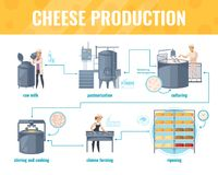 Cheese Production Cartoon Infographics. On white background with processing line including milk pasteurization, product ripening, vector illustration stock illustration