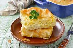 Cheese puff pie from unleavened dough royalty free stock photo