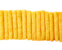 Cheese puff sticks isolated Stock Image