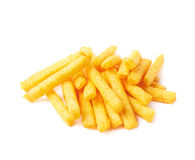 Cheese puff sticks isolated Stock Images