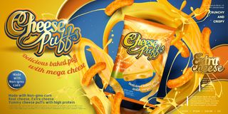 Cheese puffs ads Royalty Free Stock Images