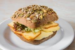 Cheese pumpkin bun with fresh salad Royalty Free Stock Photos