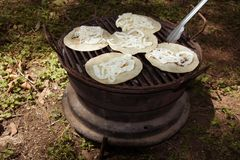 Cheese quesadillas on the grill royalty free stock image