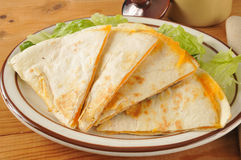 Cheese quesadillas on lettuce Royalty Free Stock Photos
