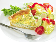 Cheese quiche horizontal with salad Royalty Free Stock Image