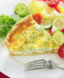 Cheese quiche vertical with salad Stock Photography