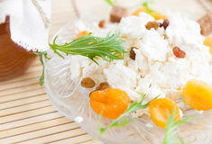 Cheese with raisins and dried apricots on a plate Royalty Free Stock Photo