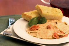 Cheese ravioli. With ligh tomato cream sauce Royalty Free Stock Photography