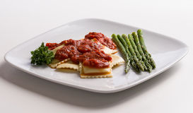 Cheese Ravioli With Asparagus Royalty Free Stock Photos