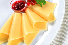Cheese and red currant sauce Stock Photography