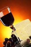 Cheese and red wine Stock Photos