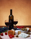 Cheese and Red Wine Stock Images