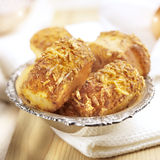 Cheese rolls on a silver plate Stock Photography