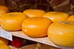 Cheese rounds. Or wheels at a shop in Holland Stock Image