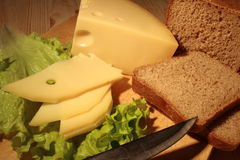 Cheese And Rye-Bread Stock Photo