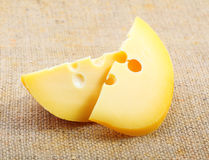 Cheese on sacking. Stock Photography