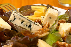 Cheese salad. With nuts dressed with honey Royalty Free Stock Photography