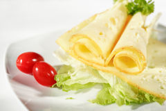 Cheese with salad Royalty Free Stock Images