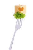 Cheese and salad on a fork Royalty Free Stock Image