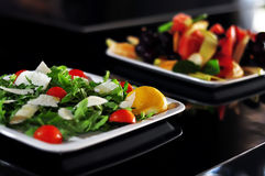 Cheese salad and fruits. Cheese salad for lunch and fruits Stock Image
