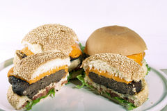 Cheese salada hamburger split in half and no splited Royalty Free Stock Photo