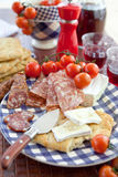 Cheese, salami and flat bread Royalty Free Stock Photo