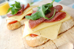 Cheese and salami sandwich stock image