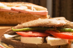 Cheese and salami sandwich Stock Images