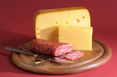 Cheese and salami still life royalty free stock photography