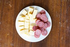 Cheese and salami Royalty Free Stock Photo