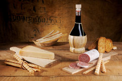 Cheese salami and wine Royalty Free Stock Images