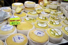 Cheese for sale on market Royalty Free Stock Photos
