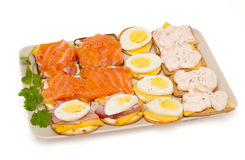 Cheese, salmon, egg, prawns, ham appetizer cracker Royalty Free Stock Photography