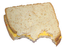 Cheese sandwich. Closeup of partially eaten cheese sandwich Stock Images