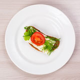 Cheese sandwich with parsley and dill tomato. Royalty Free Stock Photo