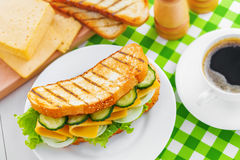 Cheese sandwich. On plate, coffee brake, top view Stock Images