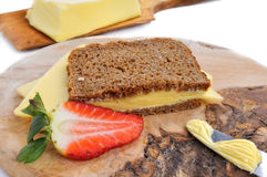 Cheese sandwich and strawberry Royalty Free Stock Photos