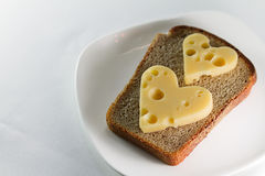 Cheese sandwich on a white plate Royalty Free Stock Photos