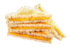Cheese sandwiches. Pile of cheese toast sandwiches , isolated on white Stock Image