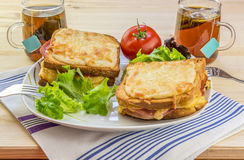 Cheese sandwiches and tee for two people Royalty Free Stock Photography