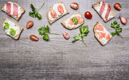 Cheese sandwiches with tomatoes on a branch and herbs  cherry tomatoes and salmon on wooden rustic background top view border ,pla Stock Image