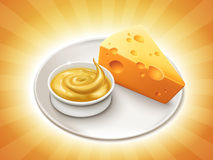 Cheese sauce and cheddar Stock Photo