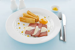 Cheese Sauce And Spam. Fried spam with a delicious cheese sauce and toast fingers Royalty Free Stock Photography