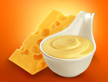 Cheese sauce  on white background Royalty Free Stock Photo