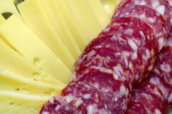Cheese with sausage Royalty Free Stock Photos